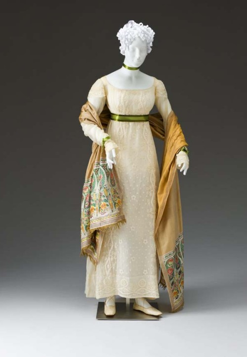 whenasinsilks:  Dress, cotton embroidered with cotton, 1810-15, American.