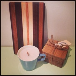 Combo Package. Hand poured soy candle in a vintage mug. 6 handmade white oak coasters and a cutting/serving board. All on sale for $49 total. Just put up on the website. www.thecuttingboardproject.bigcartel.com