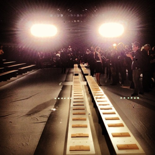 Before the shows: only seats and light. #nyfw #mbfw