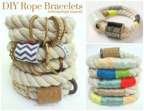 DIY Knockoff Anthropologie Hawley Rope Bracelet Tutorial from Made In A Day here. She makes the big bead using cardboard and cork. Left Photo: Front of bracelets by Made In A Day. Right Top Photo: $118 Anthropologie Hawley Bracelet here. Right Bottom Photo: Back of bracelets by Made In A Day. For another Hawley knockoff go here. For more rope jewelry and rope DIYs go here: truebluemeandyou.tumblr.com/tagged/rope