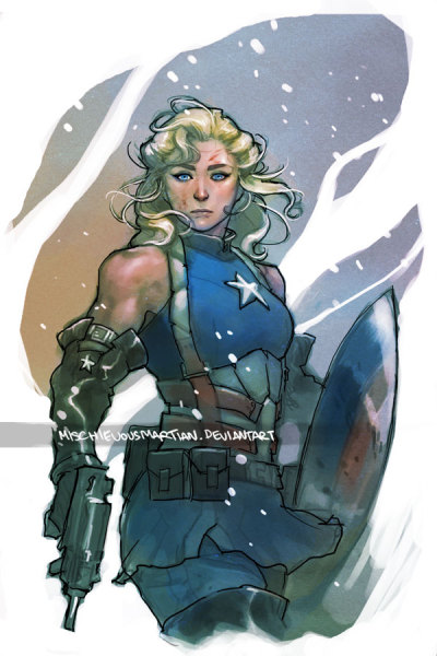 fwips:  lulubonanza:  Lady Captain America by *MischievousMartian  coooool  Can I just say Here is an excellent example of doin' a hot lady fighter right. Look at her arms and legs. She looks like she has the muscle mass to actually carry that shield and gun. She's still got plenty of curves, but they feel in proportion to the rest of her body, and in line with the body type that's being drawn. Also, those boobs look like they're in a goddamn sports bra, not in some kind of magic anti-grav push-up. Her outfit in general is hot, but not at the price of looking functional: her underbust plate looks properly articulated so it won't restrict movement too much, none of her costume looks like it's magically glued on, and I like that she's got a bunch of packs on her belt. And the most skin she's showing is on her arms, which highlights her strength as much as her sexiness. And damn, gurl, look at that commanding, direct gaze. Ain't no submissiveness goin' on here.