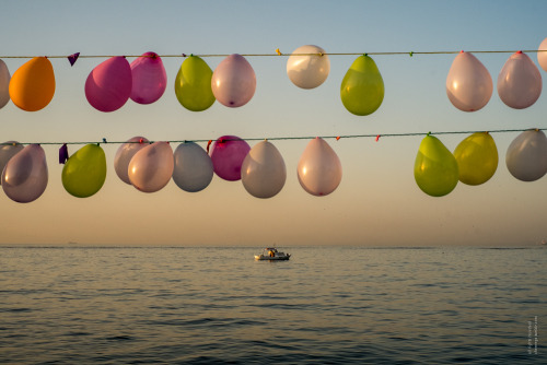chernega:  Morning baloons above Black see and ship in the distance/