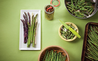 Try our mouth-watering asparagus recipes: Thai-Style Stir-Fry with Asparagus, Cashews and Oyster Mushrooms Hot and Sour Soup with Asparagus Sesame Seared Salmon with Asparagus Slaw Italian Roasted Asparagus with Walnuts and Parmesan Cheese Asparagus: A Spring Classic