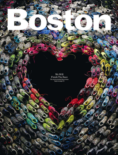 Simple, stirring cover by Boston magazine design director Brian Struble using actual running shoes worn in last week's Boston marathon.