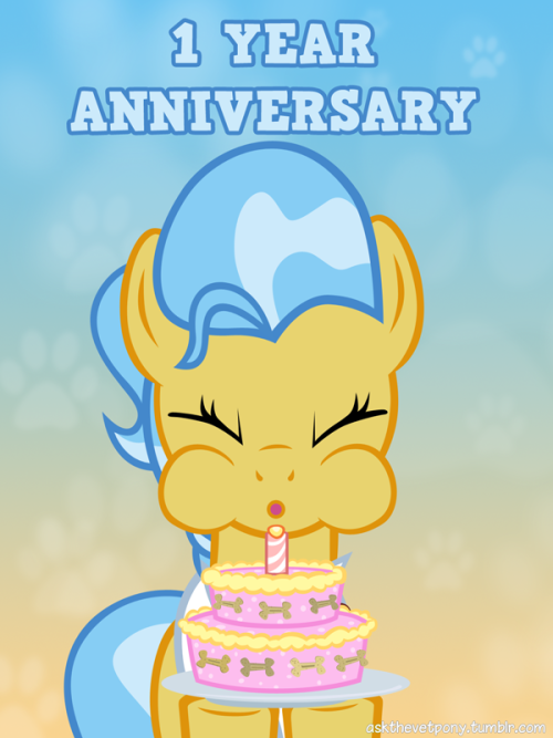 1 year anniversary!((Mod:Exactly one year ago, I started this tumblr. A tumblr about the veterinary pony that only appeared for about 25 seconds in the show in an episode, which I don't like very much. How ironic. Before I started this tumblr I wanted to create an ask blog but I couldn't decide which pony to choose. The design and the voice (given by Cathy Weseluck) were so appealing to me that I couldn't do anything else than to take her as the main character despite the fact that I don't know anything about veterinary medicine.During this year a lot happened. Even on this blog here. I made almost every week a new update that has shown the world I imagined around the vet pony. I gave her a name, I gave her a place to work, I gave her some collegues (a hospital without doctors can't operate, right?), and most importantly I gave her character. At the beginning I haven't imagined that I would become so successfull (semi-successfull) to reach over 1600 followers although I wished to be at least as successfull as the other great ask blogs. My followership began to rise slowly and constantly to about 350 followers and then the follower counter skyrocketed when this tumblr got featured on Equestria Daily. It was insane!My little story ark will conclude very soon and then I'll start answering the many questions that occupy my inbox.I thank you very much that you are following this blog and like what I've drawn and hopefully what I will draw until the next anniversary.If you want to send me gratulations it is the best to head over to my mod blog and leave your message there http://adiwan.tumblr.com .))