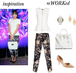 reWORKed: Ashley Madekwe's peplum + printed pants by cassandramcd   Mango sleeveless top / J.Crew patent heels / Michael Kors leather satchel handbag / Michael Kors leather watch / Earrings