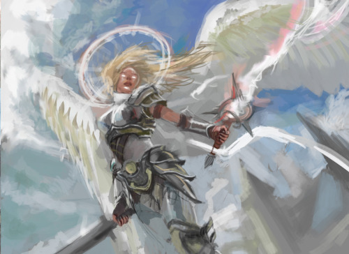 warmics:  Angel of Serenity study. The first of a set of 90 min. studies I'll be doing on magic cards. The card belongs to the Return to Ravnica set and the original artwork is by Aleksi Briclot.
