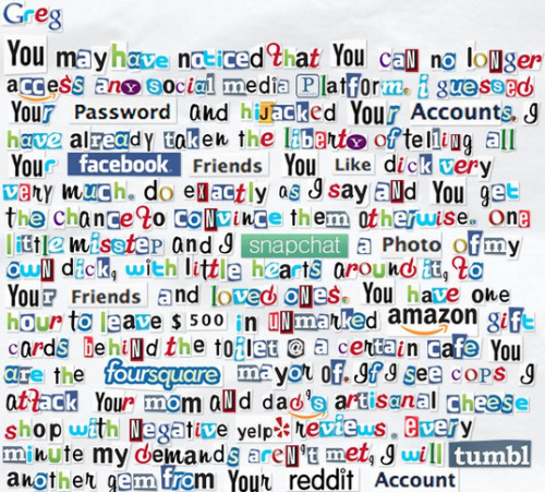 An Internet Ransom Note [Click to finish note] Ahhhh, my facebook page was hijacked again.