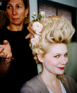 freecocaine:  Kirsten Dunst, behind the scenes of 'Marie Antoinette' 2006.