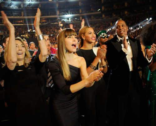 Jessica Biel with Beyonce and Jayz at the 2013 Grammys