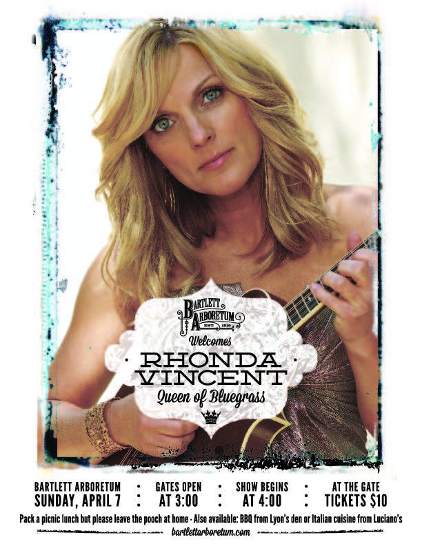 Sunday, April 7th Queen of Bluegrass, Rhonda Vincent, kicks off 2013 Tree House Concert Series, a not-to-miss event. $10 at the gate which opens at 3 o'clock.