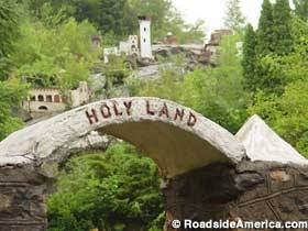 creepyabandonedplaces:  Holy Land USAWaterbury, Connecticut  Holy Land USA was once an 18 acre Bible-themed park located in Waterbury, Connecticut. The park had about 40,000 visitors a year until it closed in 1984 for renovations. Holy Land USA never opened back up again due to the death of owner John Greco in 1986. It has been abandoned ever since. The abandoned acres of the theme park have been watched over by groups of nuns for decades, but the place keeps getting more and more creepy as the park continues to deteriorate.  On top of the vandalism and eeriness the park gives off, a teenager was murdered on these abandoned grounds in 2010. Since then police records have shown that the amount of trespassers have been decreasing which just means abandoned Holy Land USA is as creepy and deserted as ever.