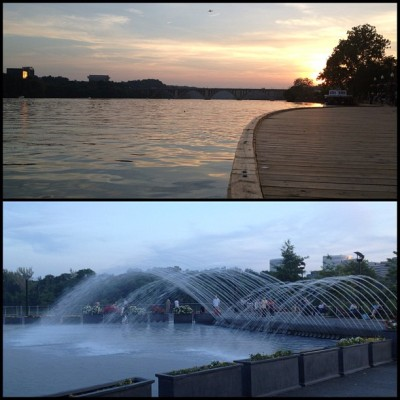 Pretty great way to end our DC Date Day. Sunset on the water and running through fountains.