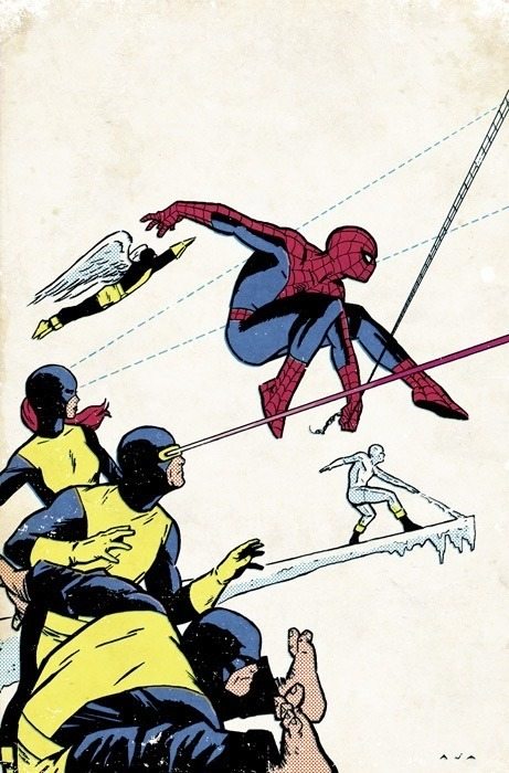 Original X-Men and Spiderman by David Aja