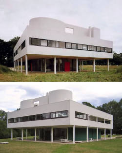 cavetocanvas:  Le Corbusier, Villa Savoye, 1929-30. Located in Poissy-sur-Seine, France. Things to think about when studying: This is an example of what architectural style? What are the thin supports at the bottom of the house called? How does this architecture relate to 2D works made during the same time? What other architectural style did this draw on?