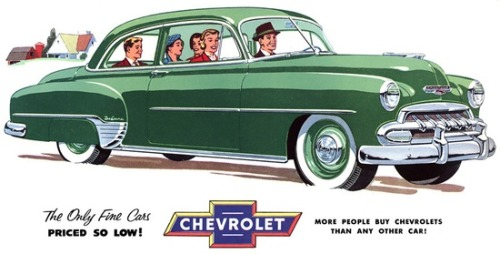 theniftyfifties:  A 1952 Chevy advertisement.
