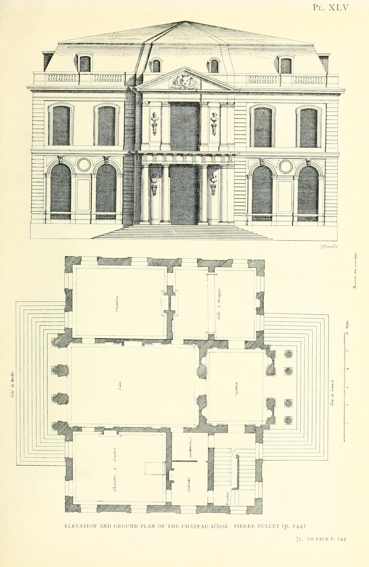 Bullet's elevation and plan of the Château d'Issy