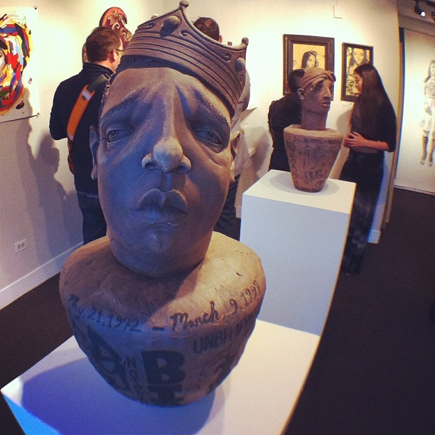 Awesome work from artist and sculptor @derekweisberg and his hip hop portrait series featuring B.I.G. in foreground and 2Pac (behind) - featured with @spoke_art at the @artpadsf  art fair in San Francisco this weekend!  #artpadsf #spokeart #derekweisberg #sculptor #clay #notoriousbig #2pac #hiphop #hiphoplegends #artist #portrait  (at The Phoenix Hotel)