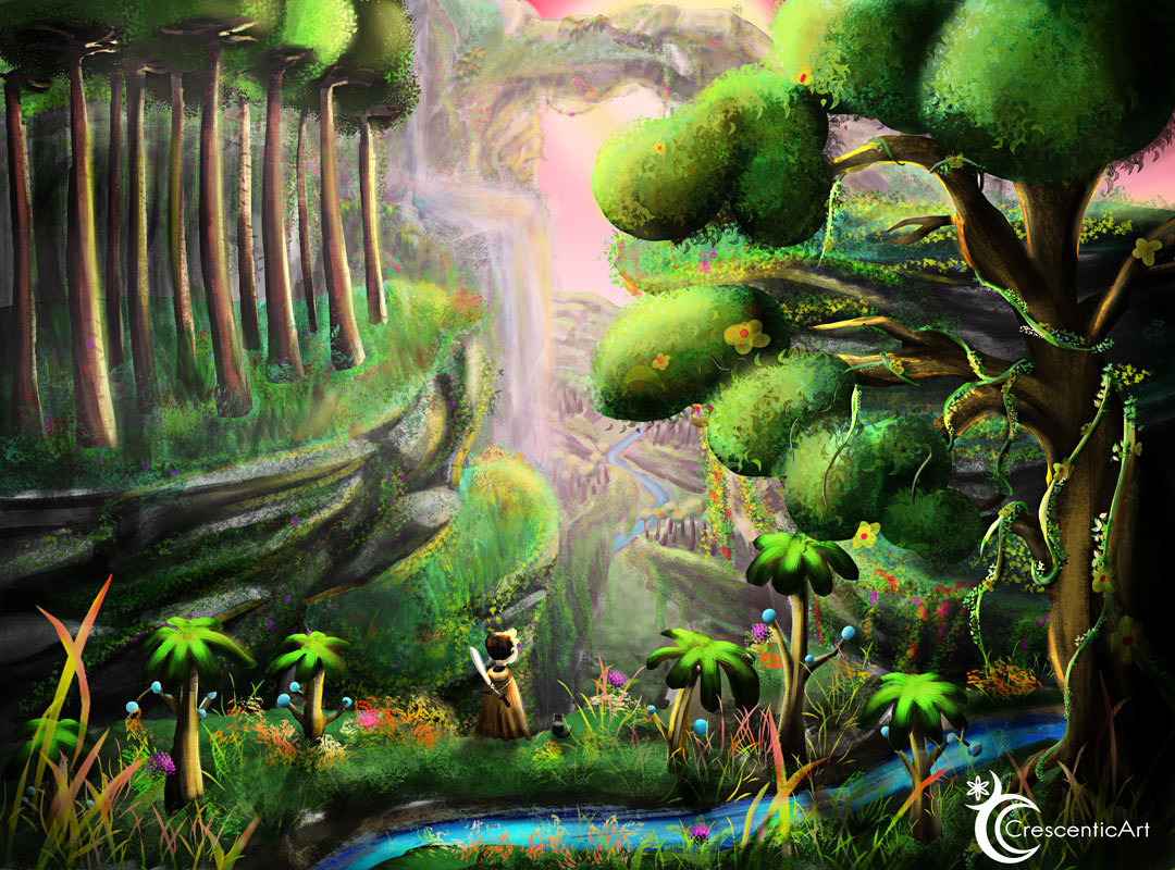 """Jungle Adventure - It's Wednesday which means it is time for a proper digital artwork!  and boy do I love this one. I made this environment a while ago, I  worked on it on and off. I tried a very fantasy-stylized style and I  really, really like it. In the back of my mind I am kind of doing  world-building for a fantasy world I am creating, trying out different  environments and styles will help me to find me what and how I like to  draw.  Like I said I spent a lot of time on this one so I hope you like  it. I used color-dodge on the blue stream at the front and I do have to  say it makes it """"pop"""". There is also and adorable cat that I drew lying  next to the boy, it was gonna be a dog but it looked more cat-like so I  just changed it ^^. I might still be finding the """"me"""" in my art but I do  have to say one thing that I am certain of is that my art will always  be """"happy"""" and """"brightI can't draw dark or sad art, I guess it's  because I mostly try to be positive and happy and I want others to feel  the same. Please remember if you like my art and want to see my progress and journey to follow and like it means a lot to me ^^ #artists on tumblr  #new art blog #tumblr art#art#morning#artist#background#day#deviantart#digital#digitalart#environment#nature#outdoor#peaceful#relaxing#scenery#artwork#atmospheric#bright#happy#fantasy#fantasylandscape#painting#artistoninstagram#boy#adventure#green#lush#landscape"""