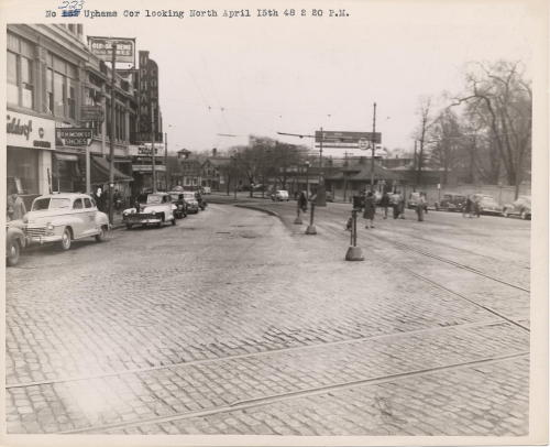 Upham's Corner looking north, 1948 April 15, (Collection # 5110.002)  This work is free of known copyright restrictions. Please attribute to City of Boston Archives For more images from this collection, click here