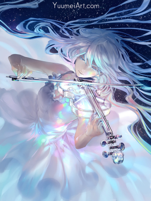 glass violin violin violinist glass instruments space stars music anime anime girl yuumei
