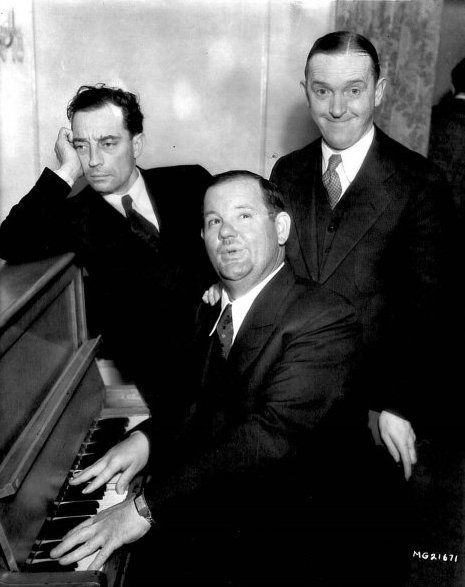 Buster Keaton, Oliver Hardy and Stan Laurel when they were all at MGM Studios - Early 1930's  Don't even get me started on MGM and how clueless they were about these three brilliant gentlemen………