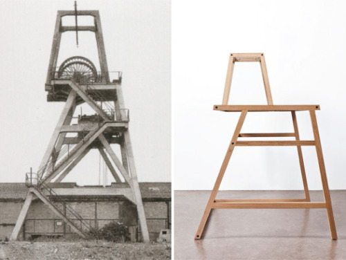 lafemmesardine:   Mieke Meijer's Winding Tower 01 desk takes its form from disappearing late 19th and early 20th century industrial architecture.