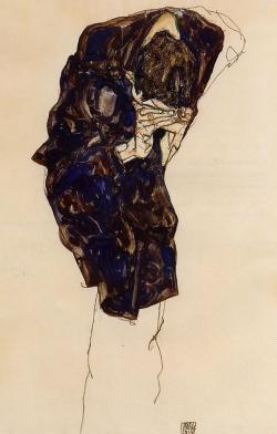 german-expressionists:  Egon Schiele, Man Bending Down Deeply, 1914