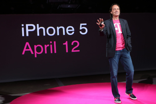 T-Mobile made a few big announcements at an event in New York City today. The mobile phone carrier announced that it will add the iPhone and launch an LTE network, which will allow it to carry LTE-enabled devices such as the HTC One, Samsung Galaxy S4, and BlackBerry Z10. The company will also no longer offer annual contracts and will instead charge consumers month-to-month.  Above: T-Mobile CEO John Legere at today's event.
