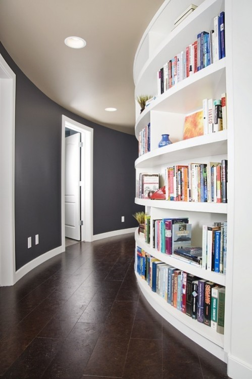 myidealhome:  rounded library hallway (via HOME INSPIRATIONS)