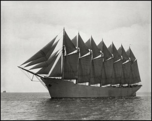"webofhistory:  ""The Thomas W. Lawson was a seven-masted schooner originally planned for the Pacific trade but used primarily to haul coal and oil along the East Coast of the United States. The ship was the largest pure sailing vessel ever built. ""Her design and purpose was an ultimately unsuccessful bid to keep sailing ships competitive with steam ships""  - Wikipedia Seen at Retronaut"