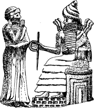 """Hammurabi hallucinating judgments from his god Marduk (or possibly Shamash) as carved on the top of a stele listing those judgments. About 1750 B.C. (199)""  ""So far as we can make out, someone seeking redress from another would come to the steward's statue, to ""hear my words"" (as the stele says at the bottom), and then move over to the stele itself, where the previous judgments of the steward's god are recorded. His god, as I have said, was Marduk, and the top of the stele is sculptured to depict the scene of judgment-giving. The god is seated on a raised mound which in Mesopotamian graphics symbolizes a mountain. An aura of flames flashes up from his shoulders as he speaks (which has made some scholars think it is Shamash, the sun-god). Hammurabi listens intently as he stands just below him (""under-stands""). The god holds in his right hand the attributes of power, the rod and circle very common to such divine depictions. With these symbols, the god is just touching the left elbow of his steward, Hammurabi. One of the magnificent things about this scene is the hypnotic assurance with which both god and steward-king intently stare at each other, impassively majestic, the steward-king's right hand held up between us, the observers, and the plane of communication. Here is no humility, no begging before a god, as occurs just a few centuries later. Hammurabi has no subjective-self to narratize into such a relationship. There is only obedience. And what is being dictated by Marduk are judgments on a series of very specific cases. (199-200)""  ""These rules of the stele should not be thought of in the modern terms of laws which are enforced by police, something unknown at that time. Rather they are lists of practices in Babylon itself, the statements of Marduk, which needed no more enforcement than their authenticity on the stele itself.  The fact that they were written down and, more generally, the wide use of visual writing for communication indicate, I think, a reduction in the auditory hallucinatory control of the bicameral mind. Together, they put into motion cultural determinants which, coming together with other forces a few centuries later, resulted in a change in the very structure of the mind itself. (201)""  Jaynes, Julian. The Origin of Consciousness in the Breakdown of the Bicameral Mind."