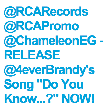 "Brandy's Fans, The Starz, Have Come Together To Ask RCA And Breyon Prescott's Chameleon Records For The Release Of Brandy's Song ""Do You Know What You Have?"", From The Impeccable And Critically Acclaimed Album, ""Two Eleven"". We Believe In Brandy And Will Help Promote, Purchase And Request The Song At Our Local Radio Stations.  ★""Do You Know What You Have?"" https://itunes.apple.com/us/album/do-you-know-what-you-have/id565112813?i=565112827  ★""Two Eleven"" https://itunes.apple.com/us/album/two-eleven-deluxe-version/id564939499  ★Use this graphic to promote ""Do You Know What You Have?"" http://tinyurl.com/doyouknowwhatyouhave  ★Please Sign This Petition In Support For #DoYouKnowWhatYouHave And #TwoEleven. Thank You!  Official BSource Campaign, sign now: http://twitition.com/5tuiz/ Brandy deserves better!!"