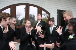 This is the funniest picture of a groom with his groom's men I've ever seen.