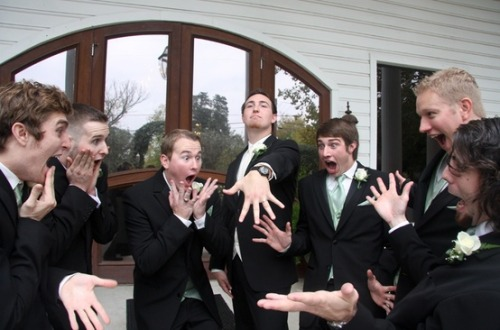 paintyou-vvings:  ashdisneyc88:  This is the funniest picture of a groom with his groom's men I've ever seen.  this is so cute oh my god