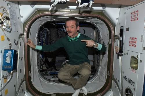 Wearing the green - Happy St. Patrick's Day from the International Space Station!