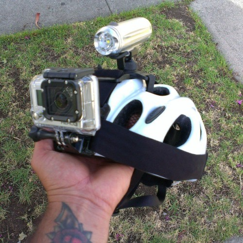 Now that's a lot of shit on my helmet. Let's see what this #gopro #hero3 is all about.
