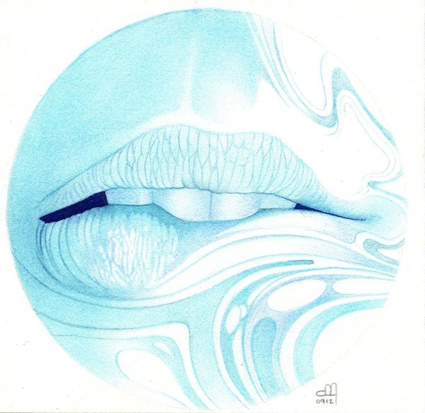 "thelookingglassgallery:  ""Swirl Girls Lips"" by Dream Transfusions"