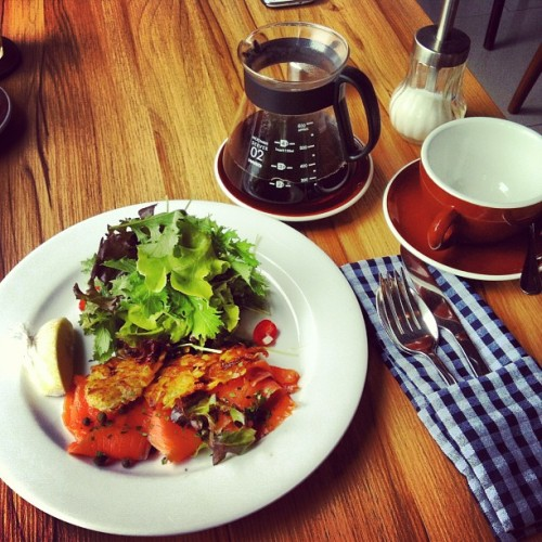 Salmon Crudo Rosti & Ethiopian Drip Coffee @ ROAST, Seenspace 2nd Floor Thonglor Soi 13 // this can easily be the highlight of the trip. decent food in a great setting, we were here for dinner last night and we're back here again! Love roast!  (at Roast (โรสท์))