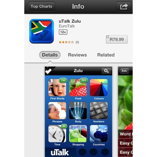 Not sure how I feel about this app costing R79 on SA App Store. #wtf #learnzulu
