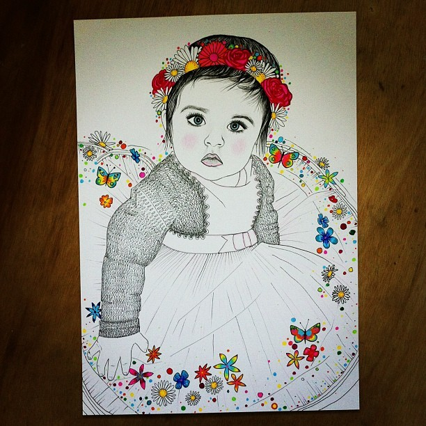 Another commission finished #sarahillustration  #baby #cute #flowers  #illustration  #art  #colours #rainbow  #draw