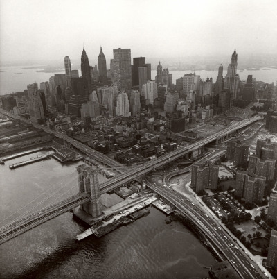 houkgallery:  Danny Lyon (American, b. 1942)Lower Manhattan and the Brooklyn Bridge from above the East River, 1967©Danny Lyon/Courtesy of Edwynn Houk Gallery Danny Lyon: Murals and Montages opens tomorrow!