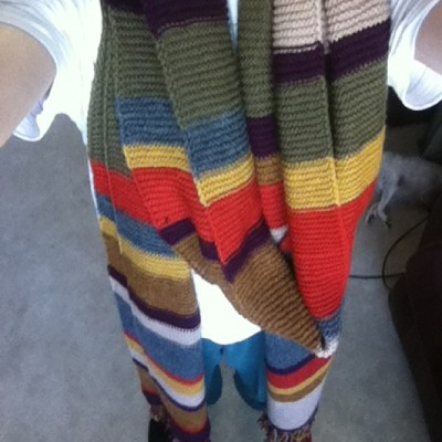 b00kworm77:  Another Baker scarf finished #knitting #tombakerscarf