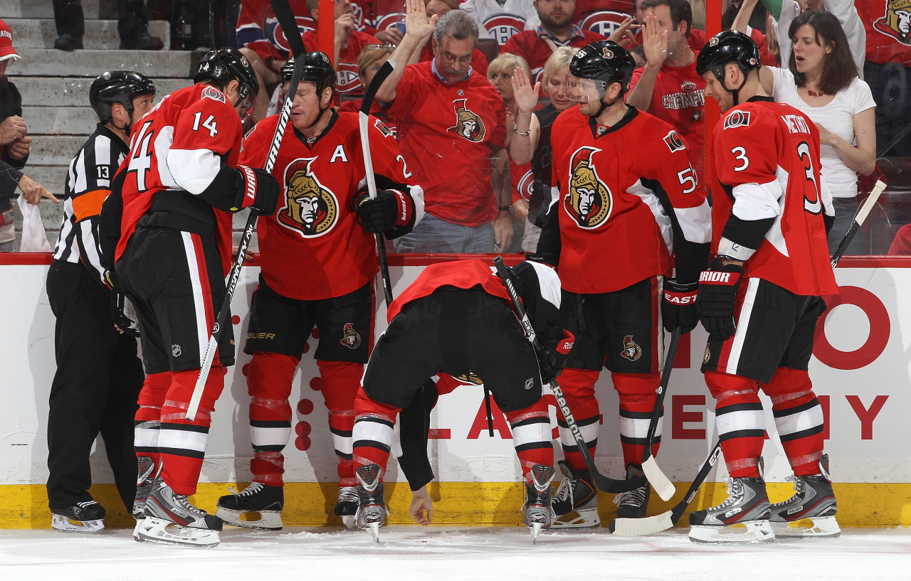 This was probably the strangest part of last night's Canadiens-Senators game: Jean-Gabriel Pageau scored a goal for the Senators, but got a high stick in the face and lost a tooth. Here he is trying to pick it up. In case you're keeping track at home — Carey Price, the Canadiens goaltender lost a tooth during Game 2 (he skated over to the bench and handed it to the trainer) and his Senators counterpart, Craig Anderson, lost a tooth in Game 1. Essentially, the team that has a player who loses a tooth, ends up winning the game. (Photo: Jana Chytilova/Freestyle Photography/Getty Images)