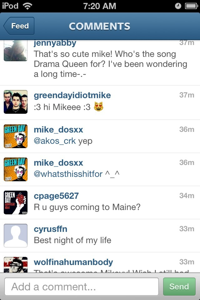 "Not only did I meet Mike, he replied to me on Instagram. I commented on his picture of his bass basically saying ""thanks for coming and talking to all of us, your hug made my night."" and he replied with ""^_^"" WHICH MEANS HE KNOWS I EXIST OMG."