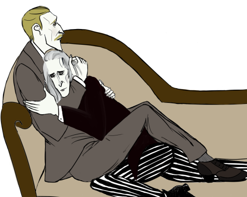 astairhodes:  Moriarty was so exhausted after a long hard day that he fell asleep only just Moran hugged him
