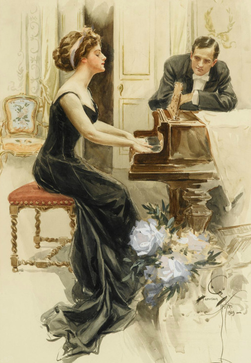 monsieurleprince:  Harrison Fisher (1875 - 1934) - A Lady and her Suitor, 1909