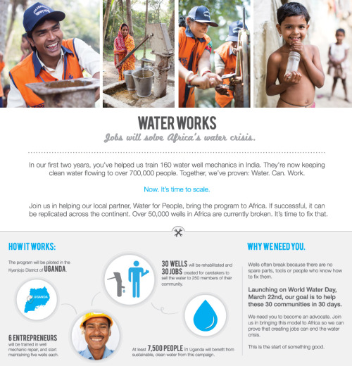 World Water Day | Support The Adventure Project's Well Mechanic Program Over 800 million people worldwide still do not have reliable access to clean water. Much has been done, but many of the wells built over the decades are now broken. In Africa alone, over 50,000 wells are completely useless!Today is World Water Day — Join me in supporting The Adventure Project as it partners with Water for People to scale a water well mechanic program in Uganda! The impact? Over 7 million Ugandans who will have access to sustainable, clean water!