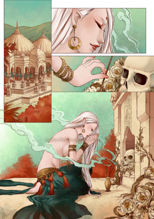 orpheelin:  Eros and Thanatos comic by *orpheelin  go go go !! I will survive (like my cat !)! I need to finish all the comic this week :D