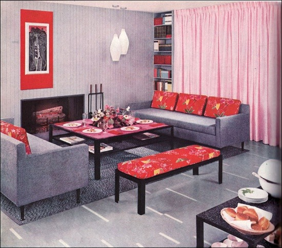 theniftyfifties:  A 1957 Armstrong modern living room.